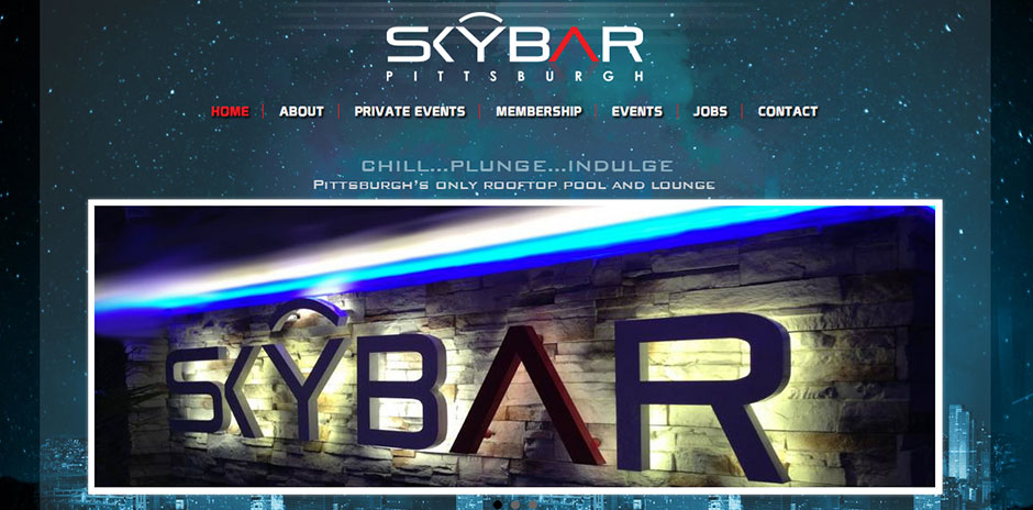 Website design layout for Skybar of Pittsburgh